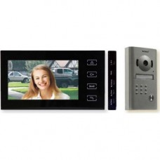Kit Videointerfon Seku RL-10MID Negru, Post exterior camera color si IR + post interior cu ecran color 7 inch